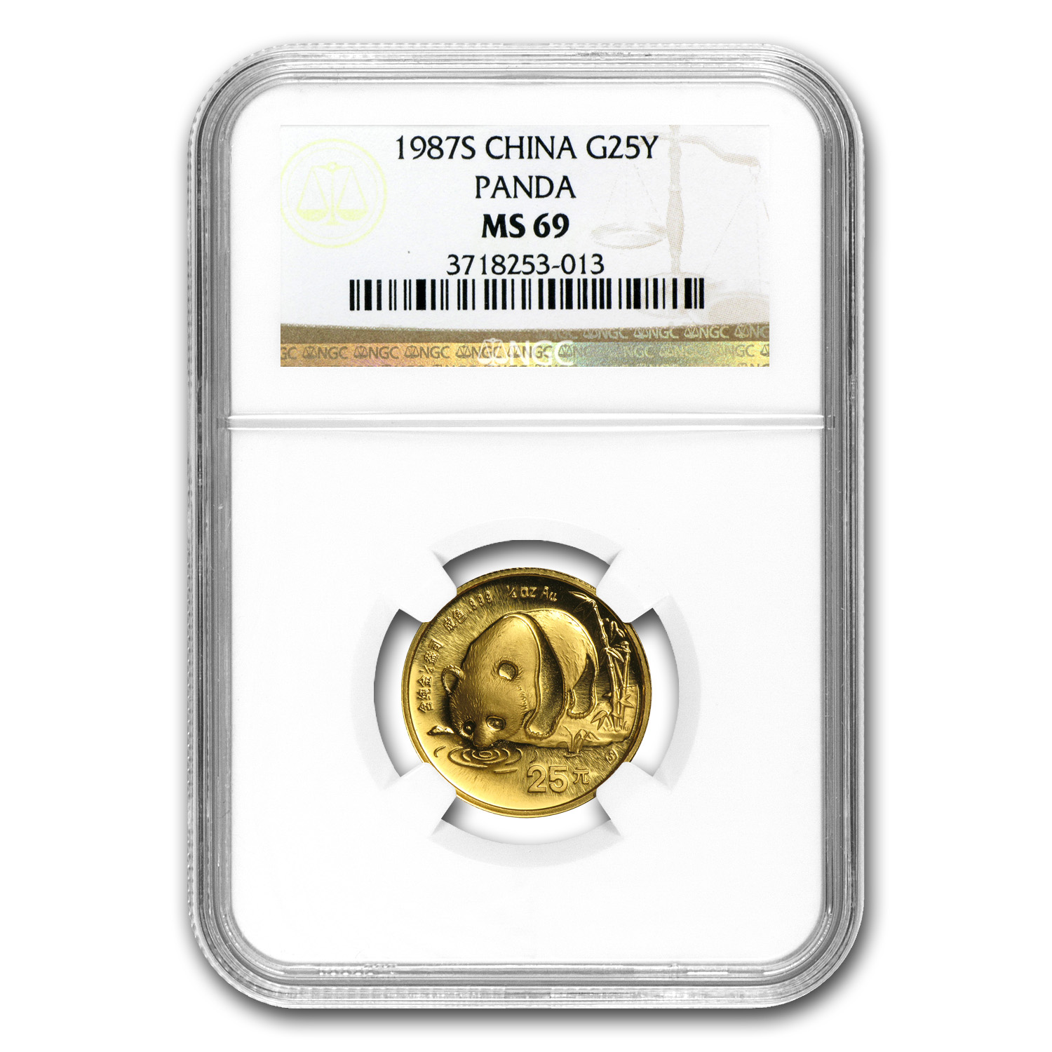 1987-S China 1/4 oz Gold Panda MS-69 NGC